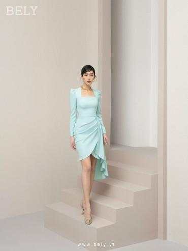 V874- Váy đầm bất đối xứng tay dài cao cấp - Xanh Mint , Đỏ Đô - Bely