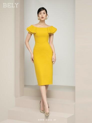 V876 - Váy đầm ôm bút chì thiết kế cổ trễ vai cao cấp - Xanh coban , Vàng - Bely